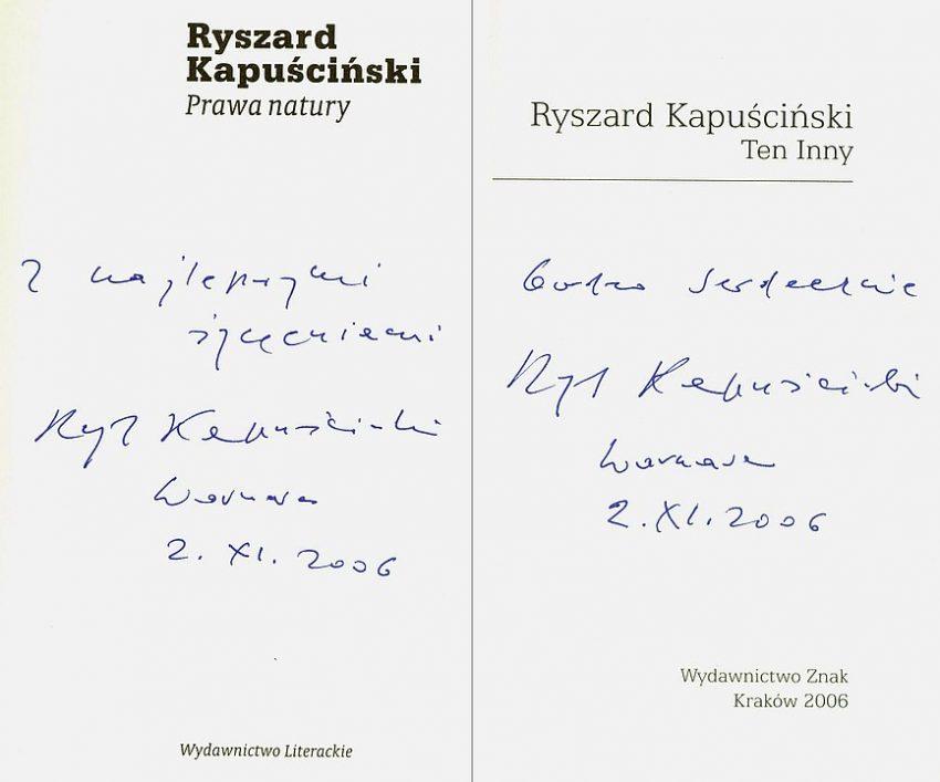 Ryszard Kapuściński autograf
